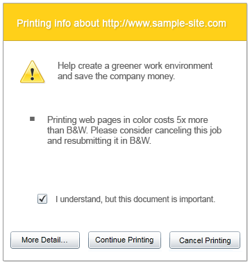 Policy Print Popup Example